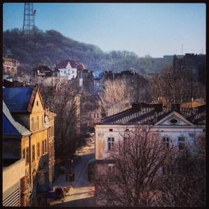 Foto: Victoria Nilsson - Vy över Lviv från vårt hotell