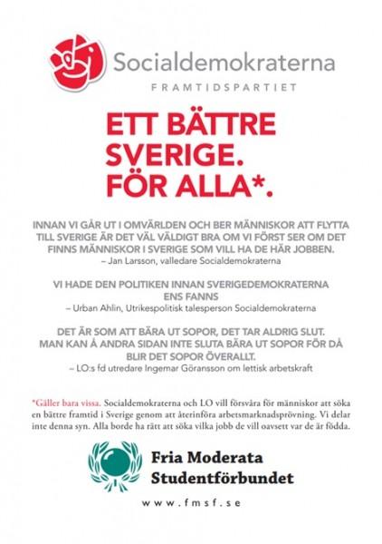 Dagens flygblad: Socialdemokraterna