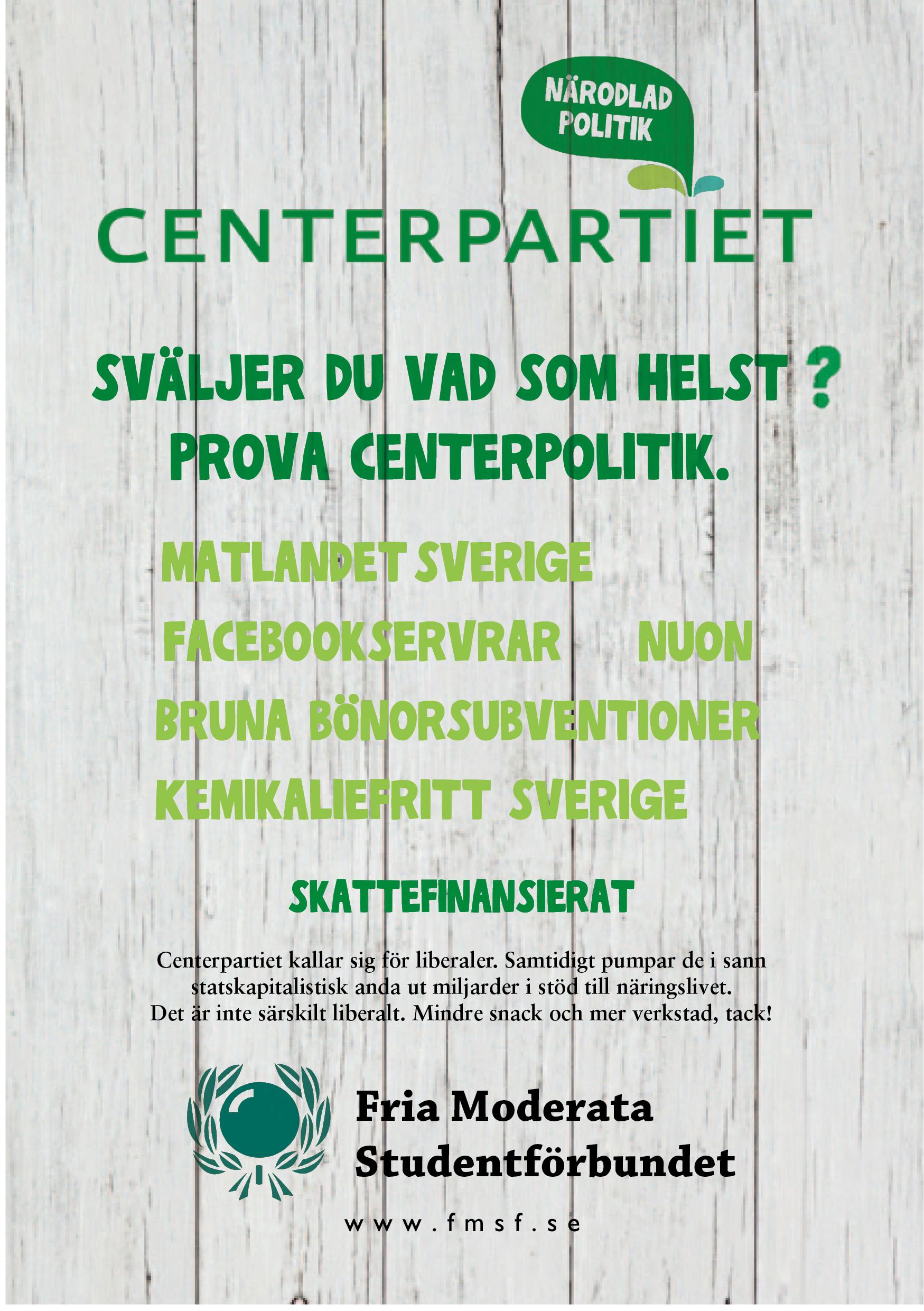 Dagens flygblad: Centerpartiet statskapitalisterna