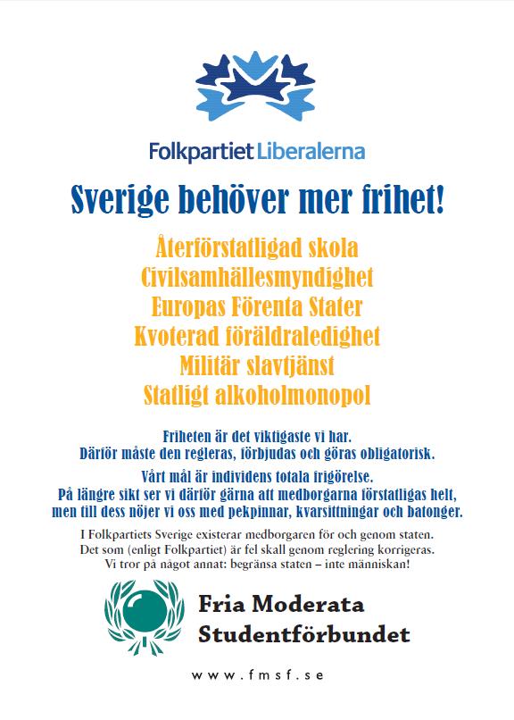"Dagens flygblad: Folkpartiet ""liberalerna"""