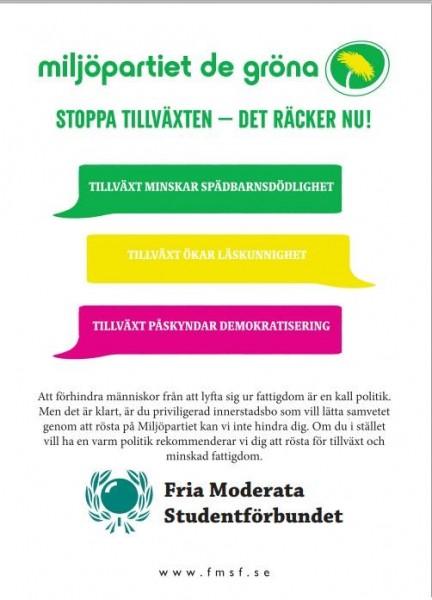 Dagens flygblad: Miljöpartiet